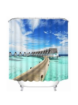 Village by the Sea in Sunny Day Print 3D Bathroom Shower Curtain