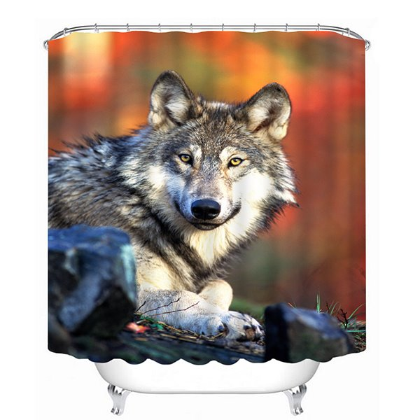 A Lovely Wolf Looking at You Print 3D Bathroom Shower Curtain