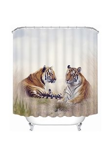 Two Tigers Lying on the Ground Print 3D Bathroom Shower Curtain