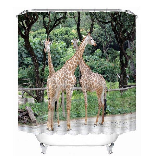 Couple Giraffes Playing Print 3D Bathroom Shower Curtain