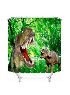 High-Quality Fiercely Dinosaurs Print 3D Bathroom Shower Curtain