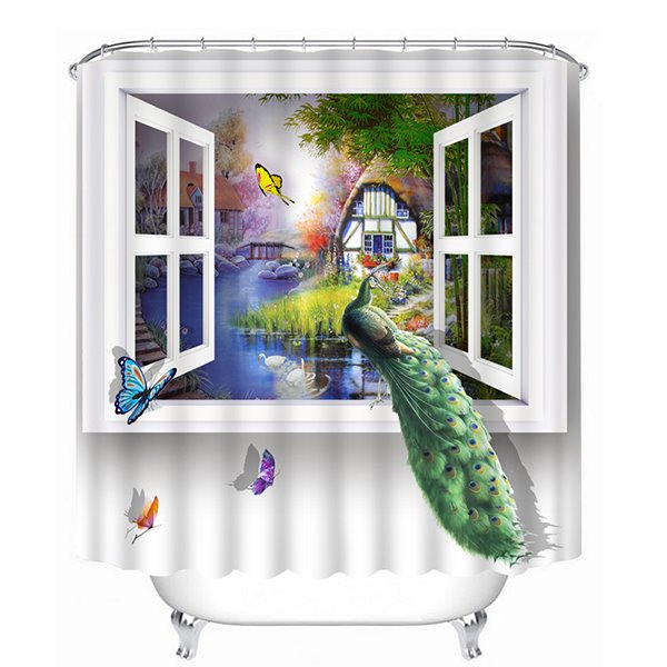 A Peacock Standing in the Window Print 3D Bathroom Shower Curtain