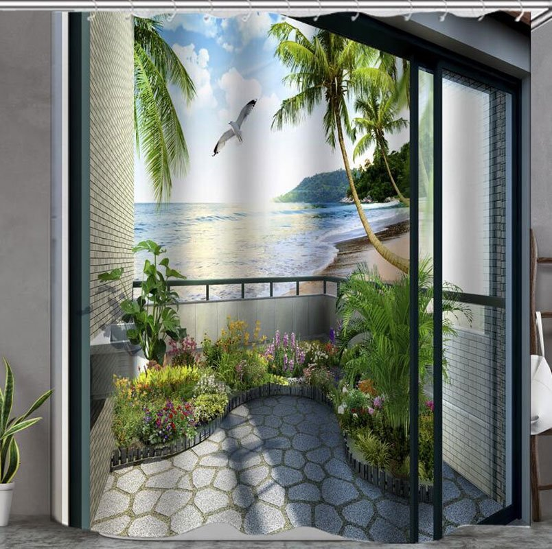 Beautiful Scene In The Balcony Print 3d Bathroom Shower
