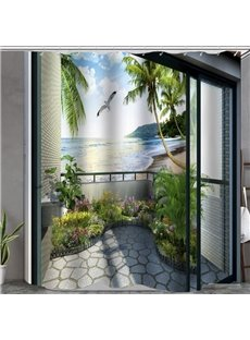 Beautiful Scene in the Balcony Print 3D Bathroom Shower Curtain