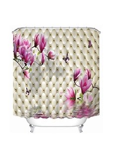 High-Quality Pink Flowers Print 3D Bathroom Shower Curtain