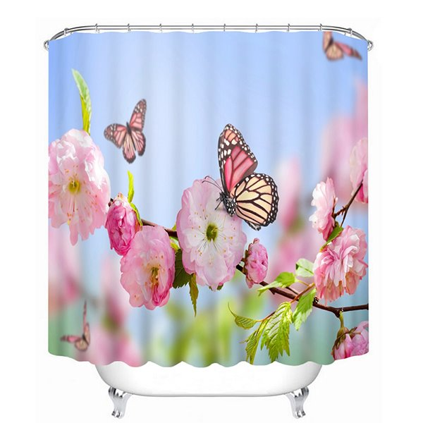 Pink Peach Flowers and Butterflies Print 3D Bathroom Shower Curtain