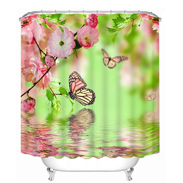 Pink Flowers and Colored Butterfies Over the Water Print 3D Bathroom Shower Curtain