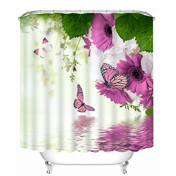 Purple Flowers and Colored Butterfies Print 3D Bathroom Shower Curtain