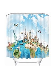 Unique World Traveller Mapping Print 3D Bathroom Shower Curtain
