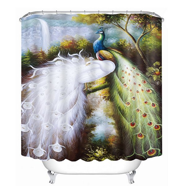 Classic Colored Peacock Print 3D Bathroom Shower Curtain