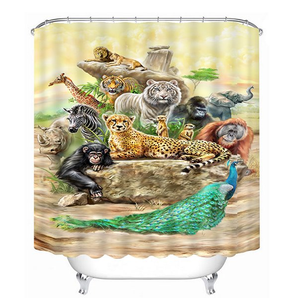 Chic Animals Print 3D Bathroom Shower Curtain