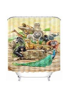 Chic Animals Print 3D Bathroom Shower Curtain