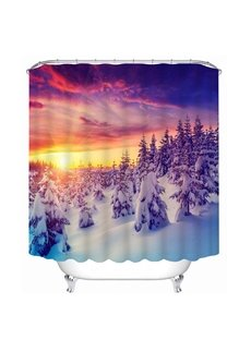 Beautiful Snowy Forest Sunset Scenery Print 3D Bathroom Shower Curtain