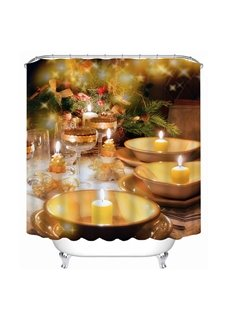 Romantic Burning Candles Print 3D Bathroom Shower Curtain