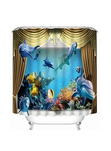 Vivid Great Dolphins Swimming Print 3D Bathroom Shower Curtain