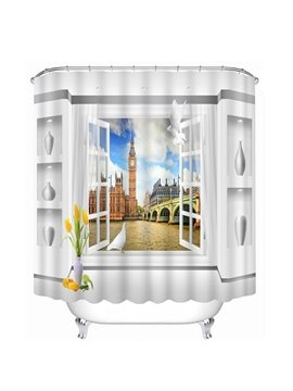 Famous London Scenery out of the Window Print 3D Bathroom Shower Curtain
