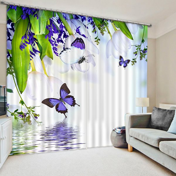 White Flowers and Purple Butterfies Over the Water Print 3D Blackout Curtain