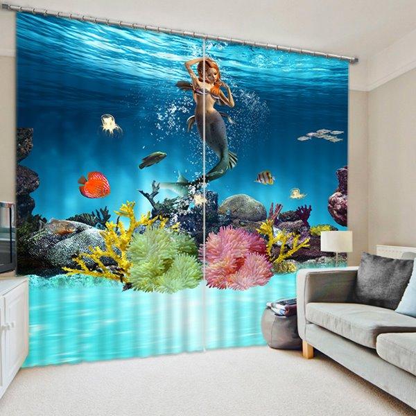 Beautiful Mermaid Swimming Print 3D Blackout Curtain