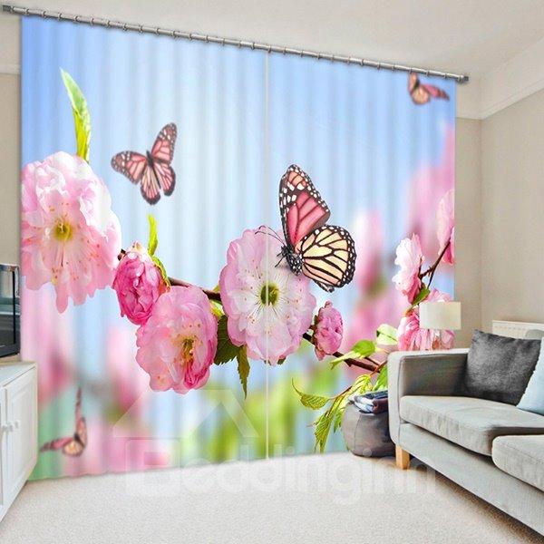 Pink Peach Flowers and Butterflies Print 3D Blackout Curtain