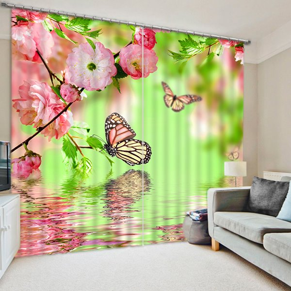 Beautiful Butterflies and Pink Peach Flowers on the Water Print 3D Blackout Curtain