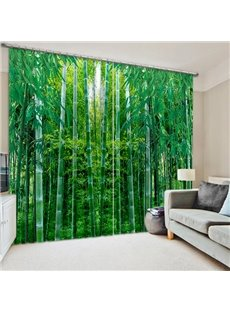 Green Bamboo Forest Print 3D Blackout Curtain
