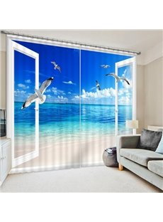 Seagulls Flying into the Window Print 3D Blackout Curtain