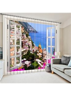 European Town Scenery out of the Window Print 3D Blackout Curtain
