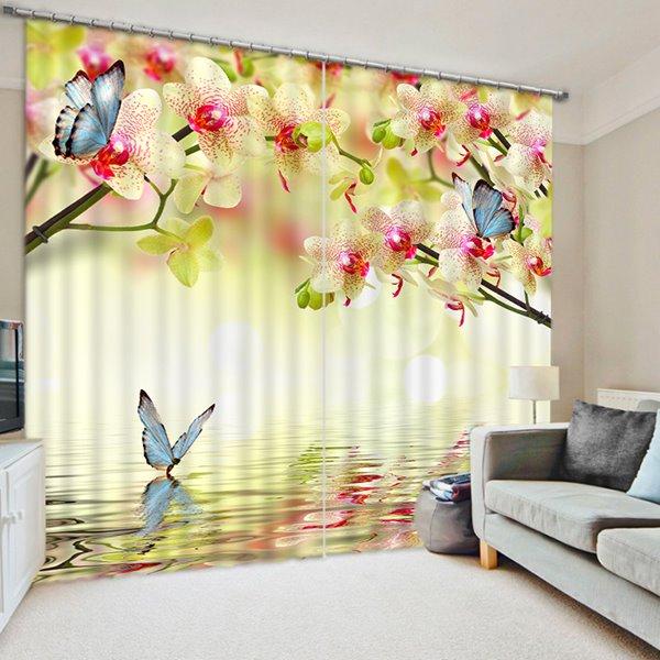 Pink Peach Flowers and Blue Butterflies Print 3D Blackout Curtain