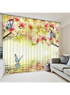 Pink Peach Flowers and Blue Butterflies Print 3D Blackout Curtain