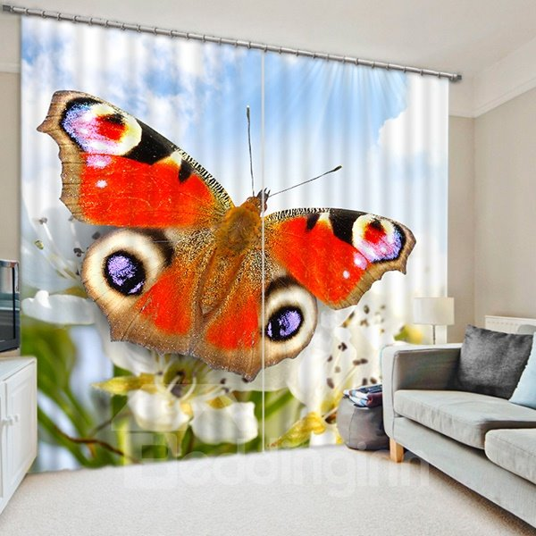 A Lifelike Colorful Butterfly Print 3D Blackout Curtain