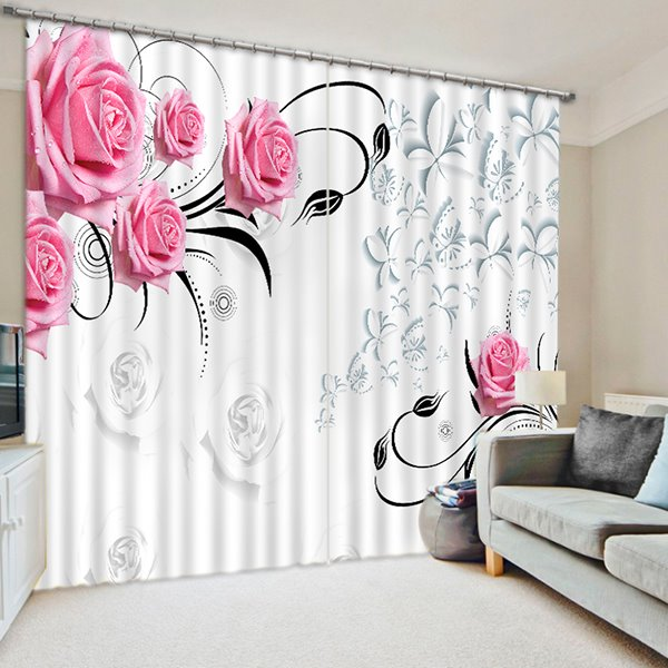 Concise Charming Pink Roses Printing 3D Curtain