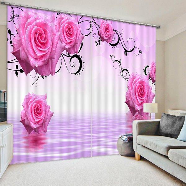 Elegant Red Roses Print 3D Blackout Curtain