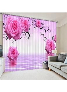 Elegant Red Roses Print 3D Blackout Curtain
