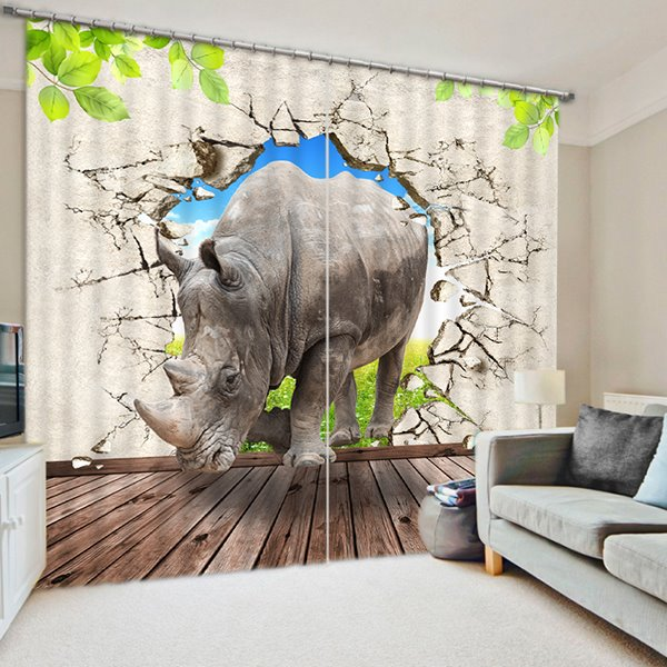 Rhino Breaking the Wall Print 3D Blackout Curtain