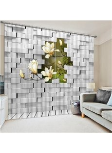 White Orchids Outside of the Wall Print 3D Blackout Curtain