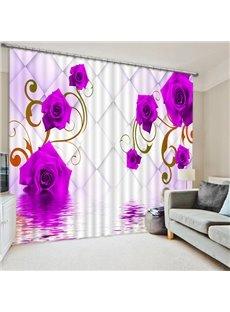 Romantic Beautiful Purple Roses Printing 3D Curtain