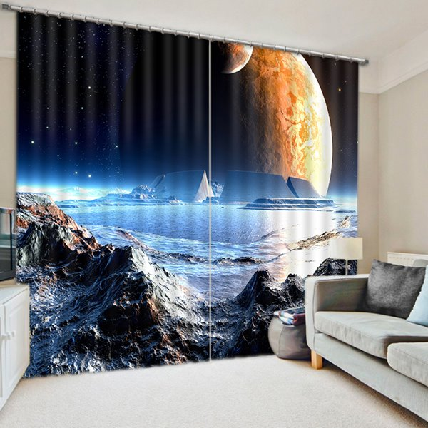 The Surface of the Moon Printing 3D Curtain
