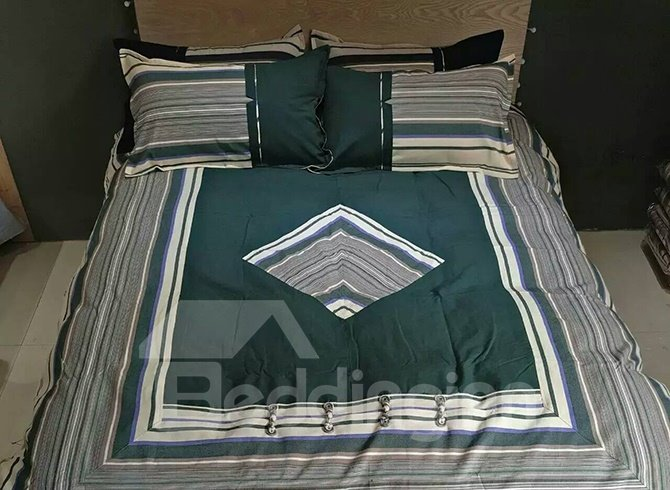 Chinese Style Rhombus Green Cotton 4-Piece Duvet Cover Sets