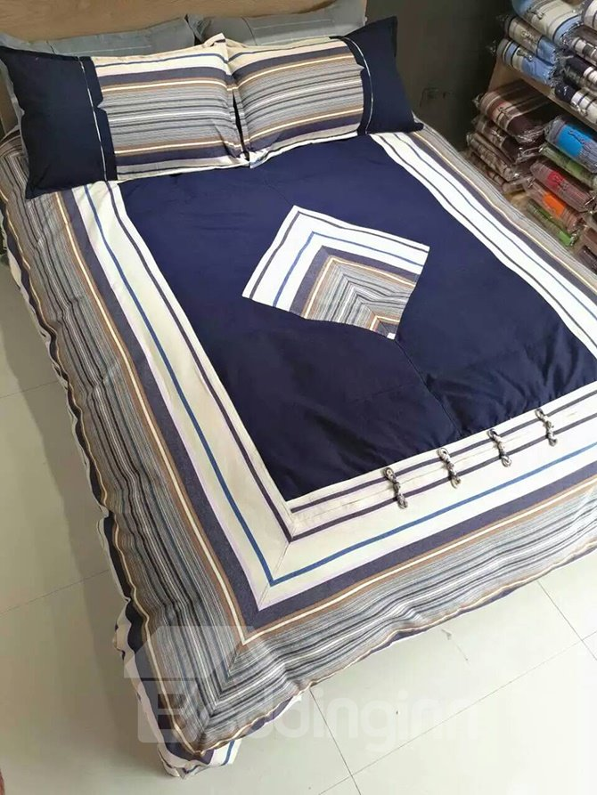 New Arrival Rhombus Dark Blue Cotton 4-Piece Duvet Cover Sets
