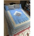 Special Design Rhombus Sky Blue Cotton 4-Piece Duvet Cover Sets