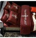 Charming Flower Rattan Design Magenta 4-Piece Active Print Bedding Sets