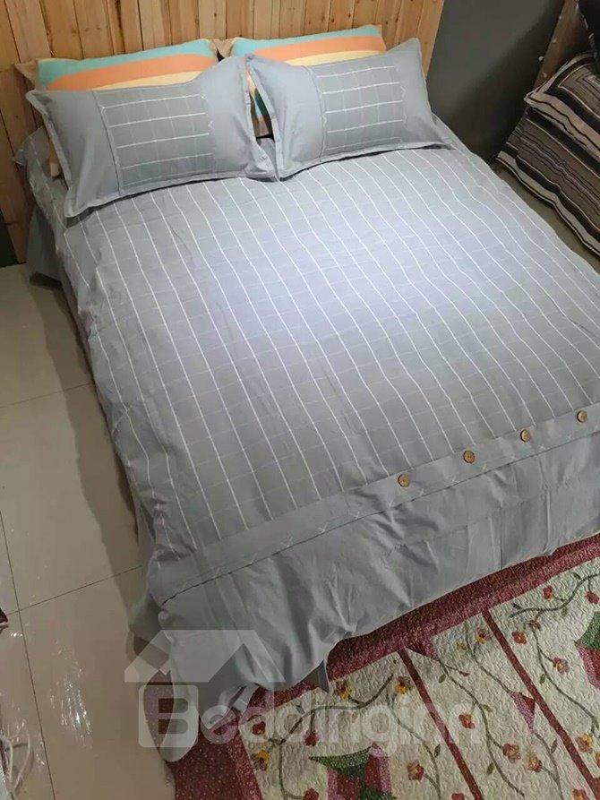 Pure Cotton Concise Plaid Design 4-Piece Duvet Cover Sets