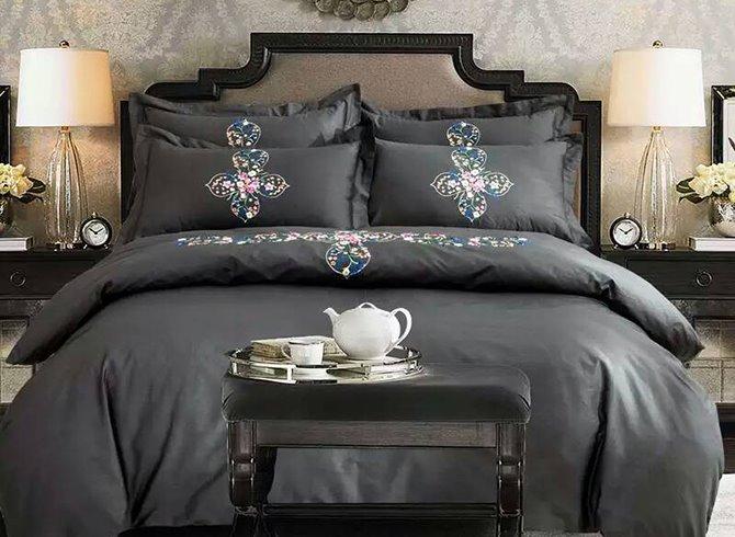 Lovely Flower Rattan Design Gray 4-Piece 100% Cotton Duvet Cover Sets