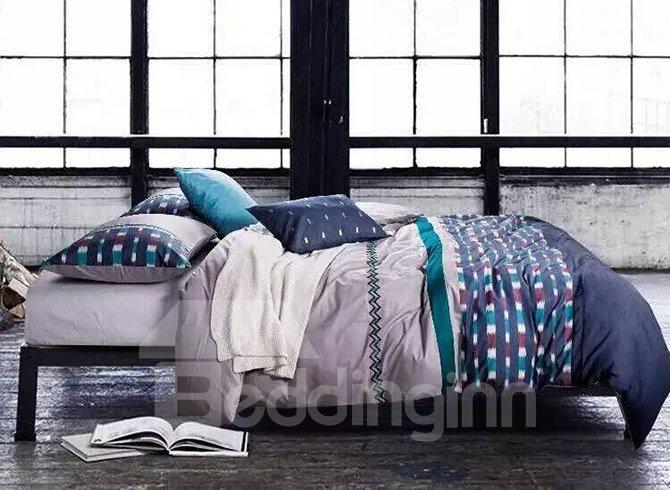 Classic Design Vibrant Line Print Cotton 5-Piece Duvet Cover Sets 11964433