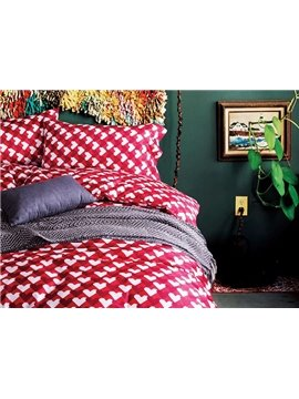 Glamorous Heart Shape Red Cotton 4-Piece Duvet Cover Sets