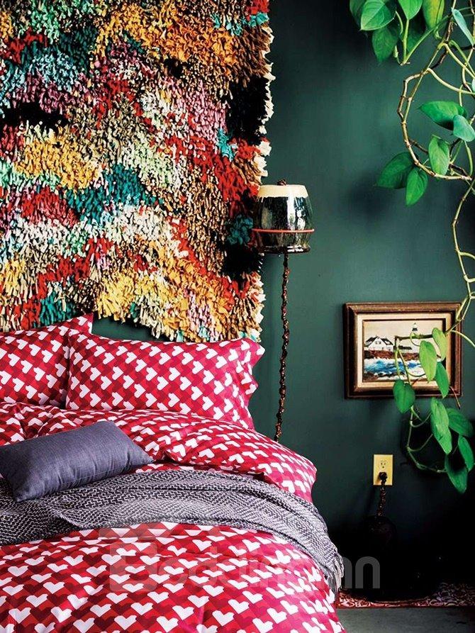 Glamorous Heart Shape Red Cotton 4-Piece Duvet Cover Sets