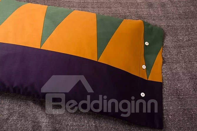 Concise Style Green Triangle 4-Piece Active Print Cotton Bedding Sets