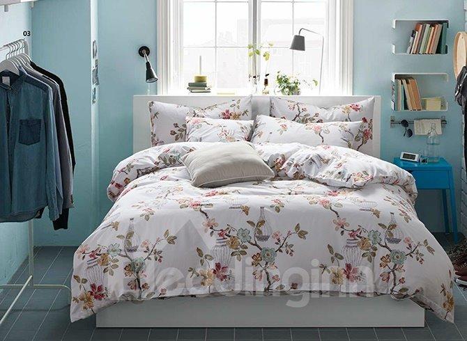Graceful Flowers and Butterflies Print Cotton 4-Piece Duvet Cover Sets
