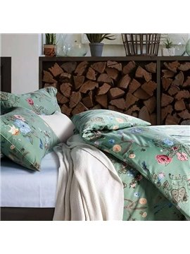 Fresh Style Wonderful Flowers Green Cotton 4-Piece Duvet Cover Sets