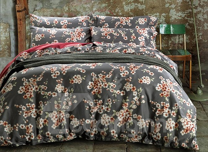 Romantic Plum Blossom Design 4-Piece Cotton Duvet Cover Sets